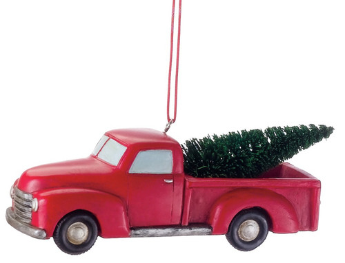 Midwest CBK Red Pickup Truck with Christmas Tree Holiday Ornament