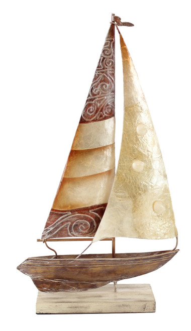 Beachcombers White and Brown Capiz Shells Sail Boat Table Figurine 13 Inches