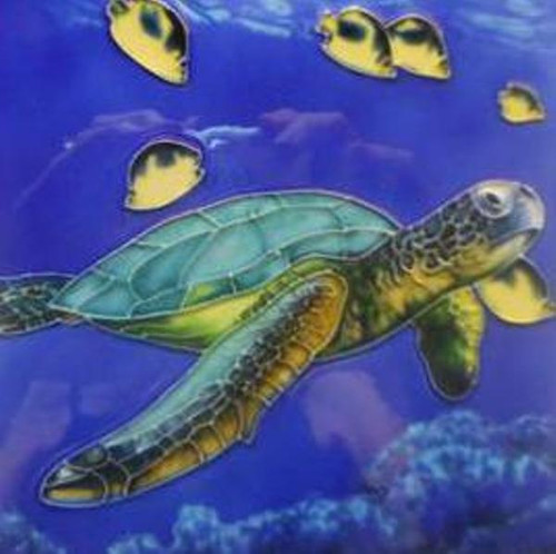 Tropical Sea Turtle in Vivid Blue Waters 6X6 Inch Ceramic Tile