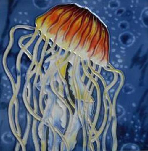 Jellyfish in Royal Blue Ocean 6X6 Inch Ceramic Tile