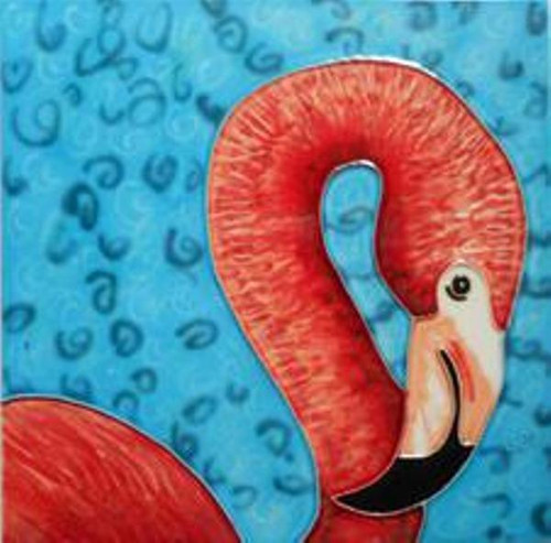 Pink Flamingo Coastal Bird 6X6 Inch Ceramic Tile