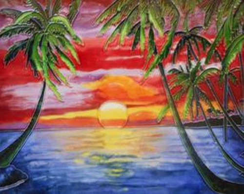 Palms Swaying Tropical Sunset 6X6 Inches Ceramic Tile