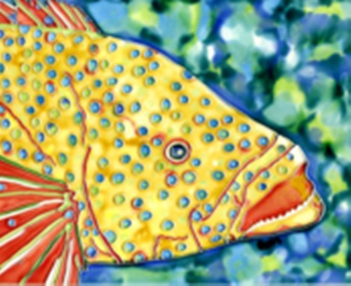 Yellow Spotted Tropical Fish 6X6 Inches Ceramic Tile