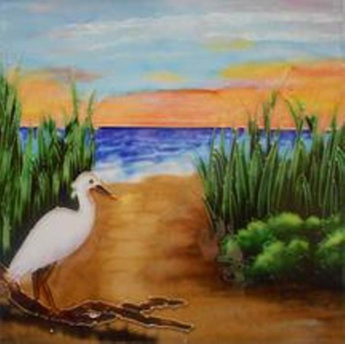 Egret by the Beach 8X8 Inches Ceramic Tile