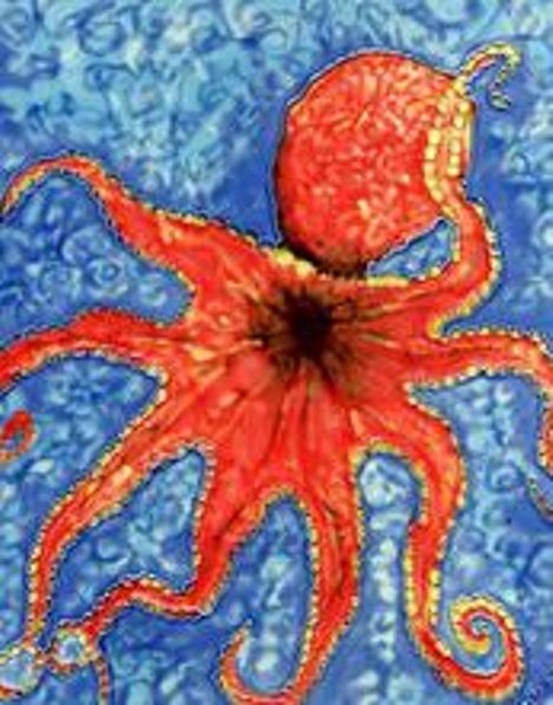 Octopus in Deep Blue Sea 8X8 Inches Ceramic Tile