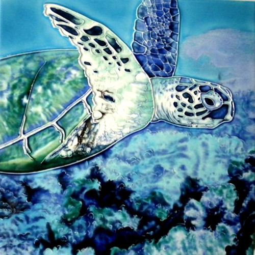 Sea Turtle Swimming in the Deep Blue 8X8 Inch Ceramic Tile
