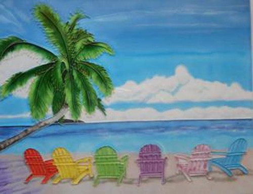 Tropical Beach Chairs in a Row 8X8 Inches Ceramic Tile