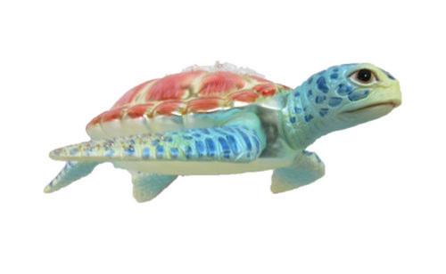 December Diamonds Sea Turtle Encrusted Christmas Holiday Ornament Glass