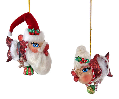 Katherine's Collection Mr Mrs Claus Kissing Fish Christmas Holiday Ornaments Set
