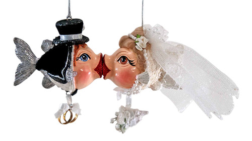 Katherine's Collection Bride Groom Kissing Fish Set Christmas Holiday Ornaments