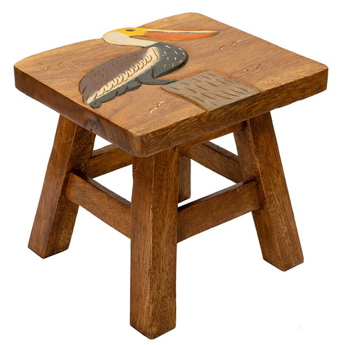 Pelican Carved Wood Step Stool Painted Design 11 Inches