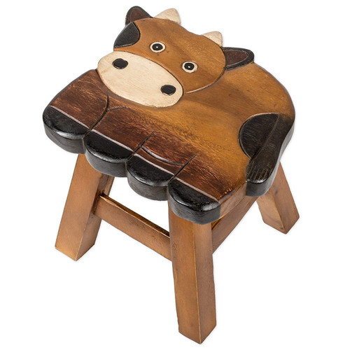 Cow Carved Wood Step Stool Painted Design 11 Inch