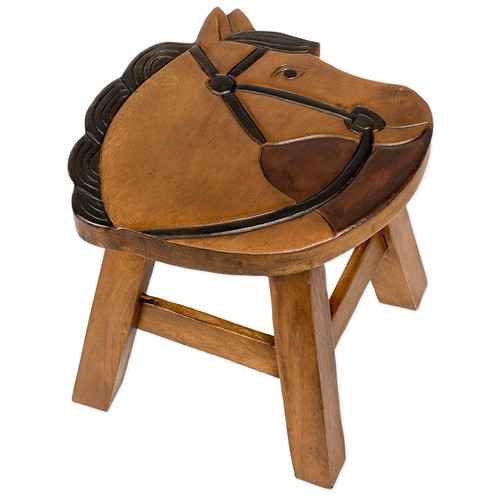 Horse Carved Carved Wood Step Stool Painted Design 11 Inch