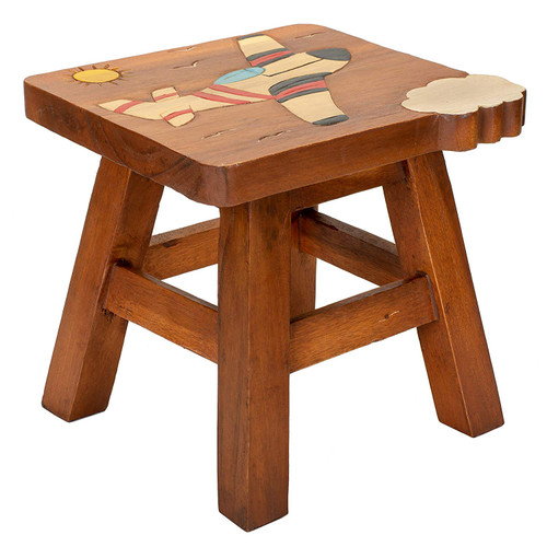Airplane Carved Wood Step Stool Painted Design 11 Inch