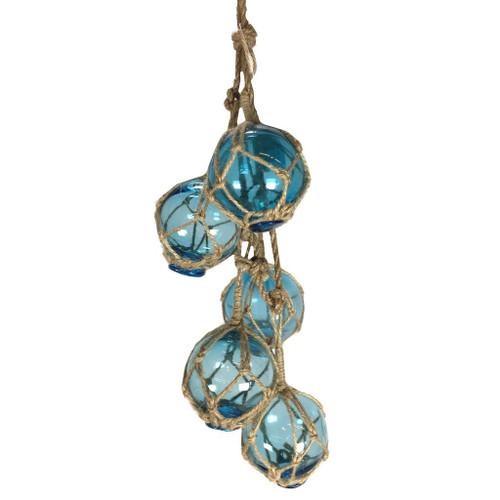 String of 5 Small Fishing Floats Net Buoys Light Blue Blown Glass