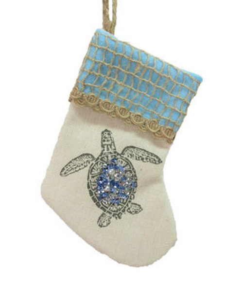 December Diamonds Sea Turtle Blue Jewels Christmas Stocking Ornament 6.25 Inches