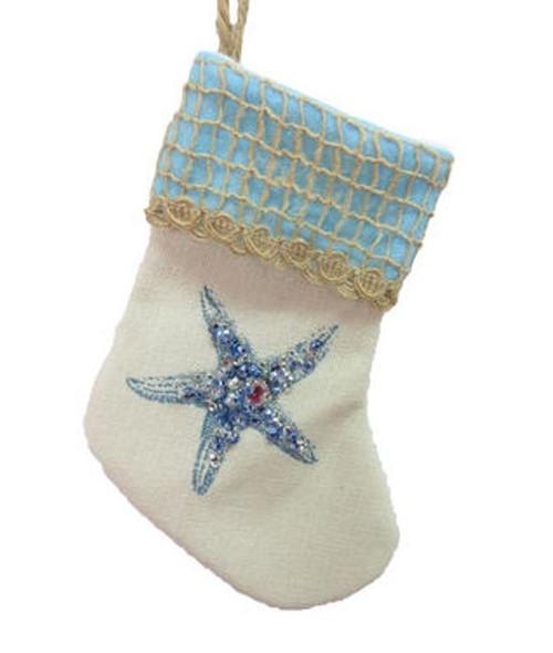 December Diamonds Starfish Blue Jewels Christmas Stocking Ornament 6.25 Inches