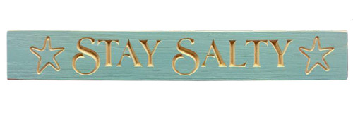 Stay Salty Starfish Routed Barnwood Wall Sign 23.75 Inches
