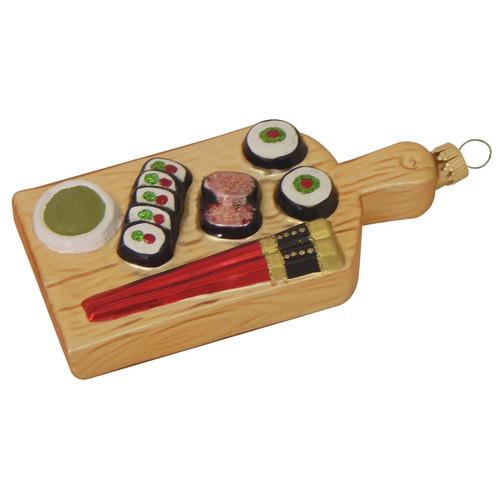 Sushi Platter Christmas Holiday Ornament Glass