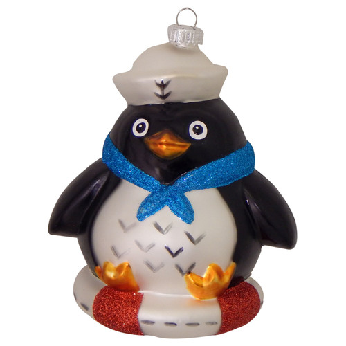Sailor Penguin Christmas Holiday Ornament Glass
