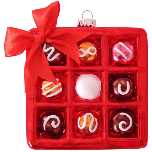 Box Of Assorted Chocolates Christmas Holiday Ornament Glass