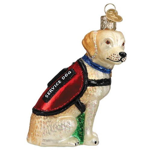 Service Dog Christmas Holiday Ornament Glass