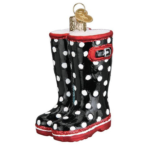 Rubber Rain Boots Christmas Holiday Ornament Glass