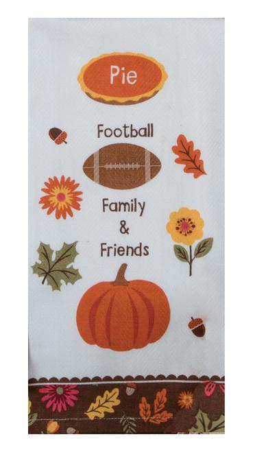 Turkey Day Pie Football Family Friends Kitchen Dish Tea Towel