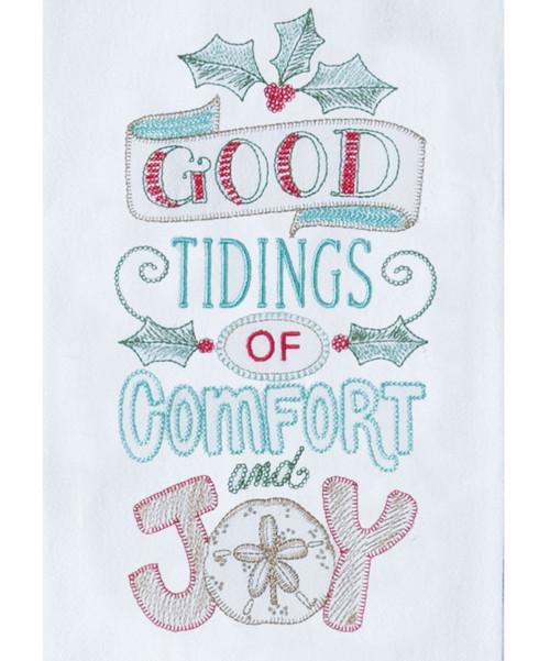 Good Tidings Comfort Joy Coastal Holiday Embroidered Kitchen Flour Sack Towel
