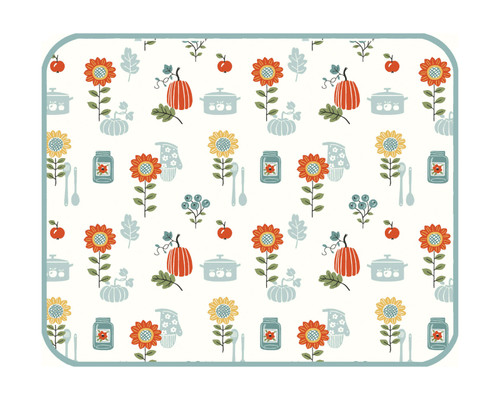 Autumn in Bloom Sunflowers and Pumpkins Fall Kitchen Dish Drying Mat