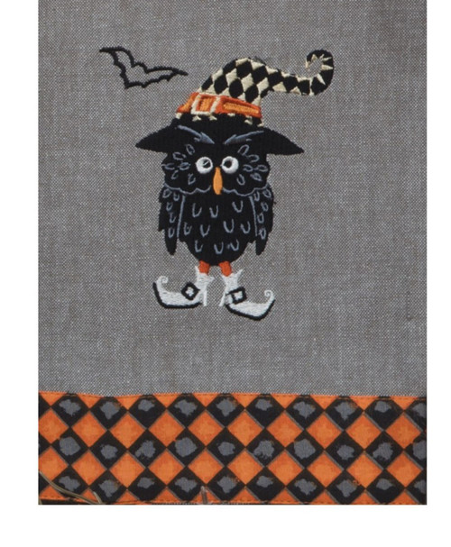 Harlequin Halloween Owl Embroidered Kitchen Dish Tea Towel