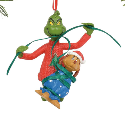 Grinch Gift Wrapping Max Christmas Holiday Ornament Resin