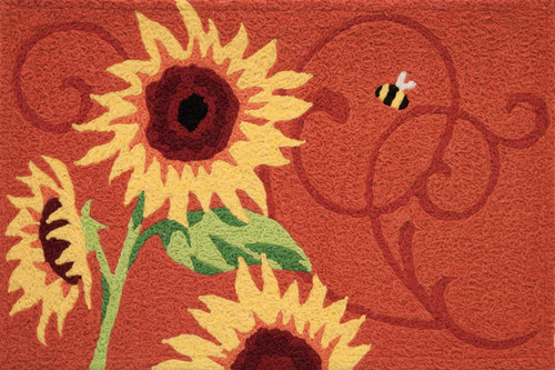 Sunny Yellow Sunflower Solstice 30 x 20 Inches Area Accent Rug