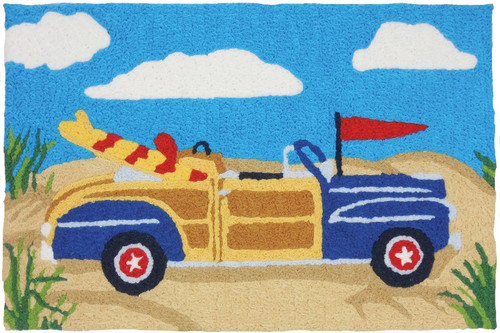 Blue Woodie Hauling Surfboards on Beach 33 X 21 Inches Area Accent Washable Rug