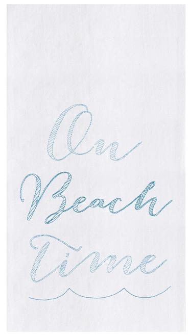 On Beach Time Flour Sack Kitchen Towel Cotton 27 Inches