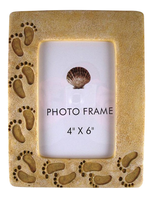 Beachcombers Footprints in Sand Photo Picture Frame 4 x 6 Inches Resin