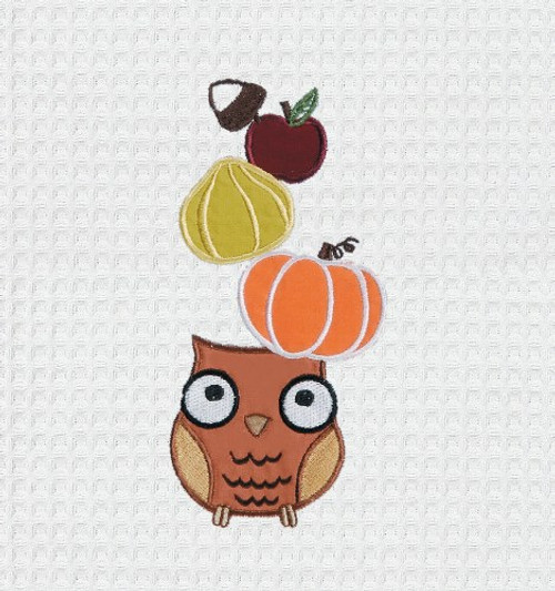 Harvest Hoot Owl and Pumpkin Embroidered Kitchen Waffle Weave Cotton Towel