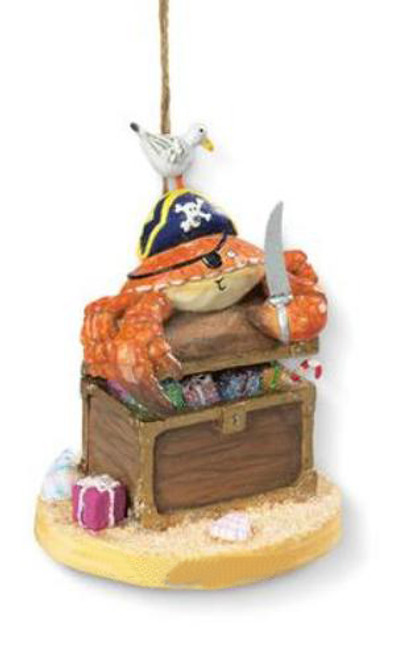 Yo Ho Ho Pirate Crab with Treasure Chest of Booty Holiday Ornament Resin