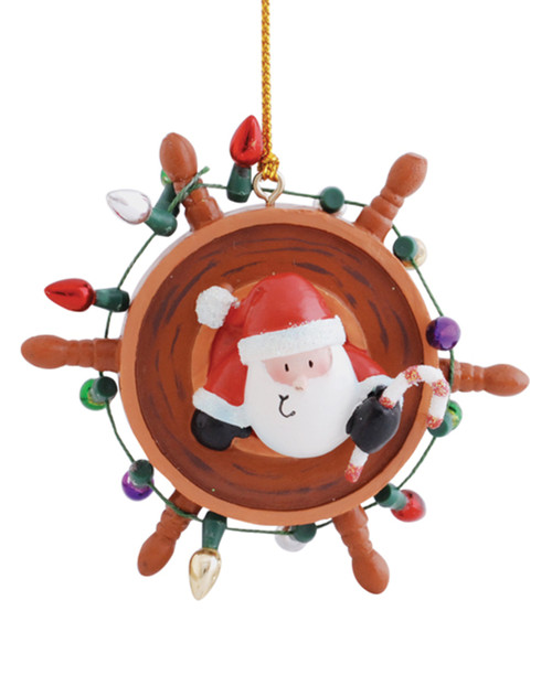 Santa Decorating Ships Wheel Nautical Holiday Ornament Resin