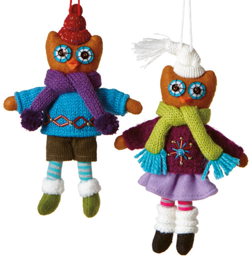 Boy and Girl Owl Couple in Sweaters Holiday Ornaments Set of 2 Midwest CBK