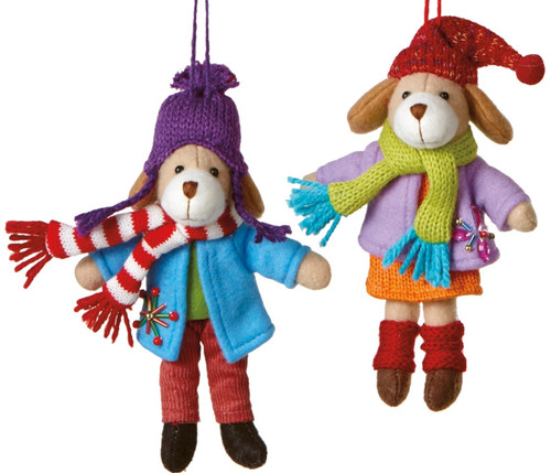 Boy and Girl Family Pet Dogs in Winter Coats Christmas Ornaments Set of 2