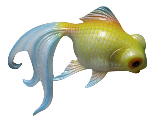 Fancy Tail Glittered Yellow and Blue Goldfish Bath 6 Inch Wall Decor Resin