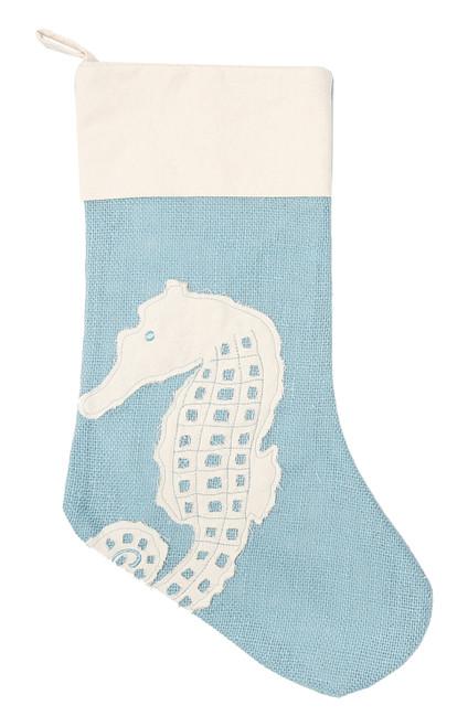 Seahorse Burlap Christmas Holiday Stocking Blue and White