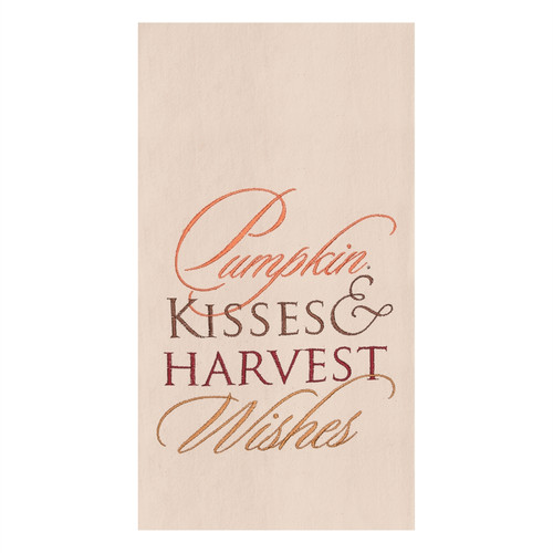 Pumpkin Kisses and Harvest Wishes Embroidered Kitchen Dish Towel