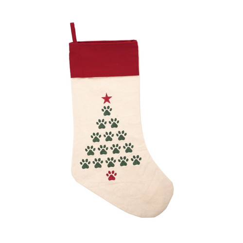 Christmas Tree Pet Paws Prints Holiday Stocking Red and Green