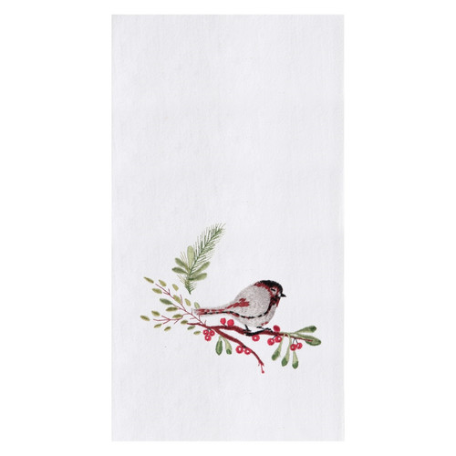 Chickadee Perched on Tree Branch Embroidered Flour Sack Kitchen Dish Towel
