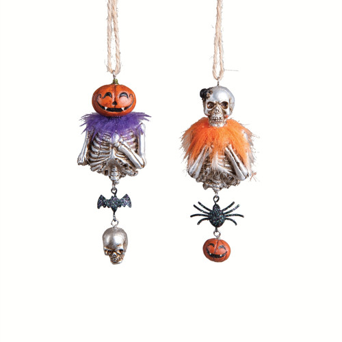 Charmed Skeletons Man and Woman Halloween Ornaments Set of 2