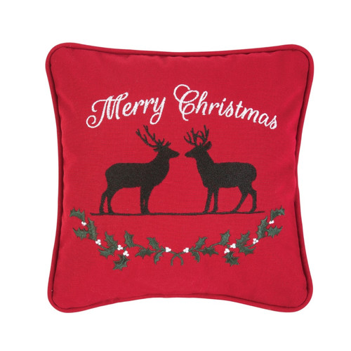 Merry Christmas Deer with Holly Garland Red Holiday Accent Throw Pillow 10 Inch