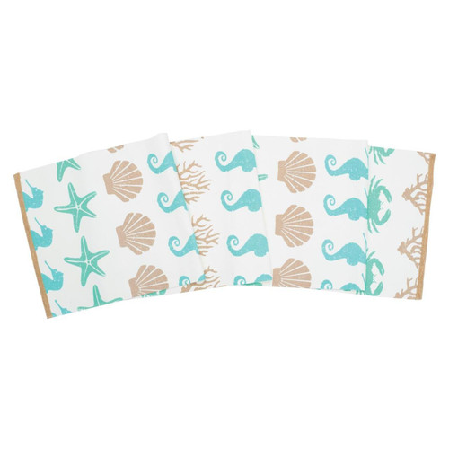 By the Sea Shells Starfish Crabs Seahorses Printed Kitchen Dining Table Runner