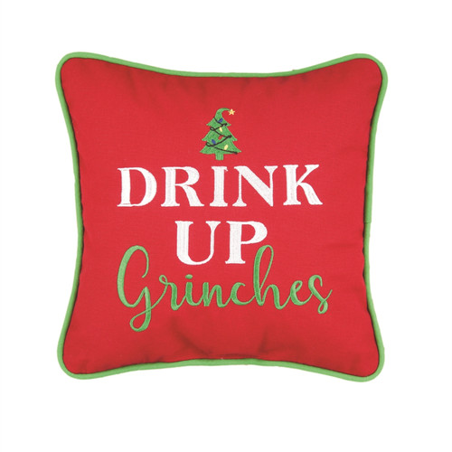 Drink Up Grinches Red Christmas Holiday Accent Throw Pillow 10 Inches